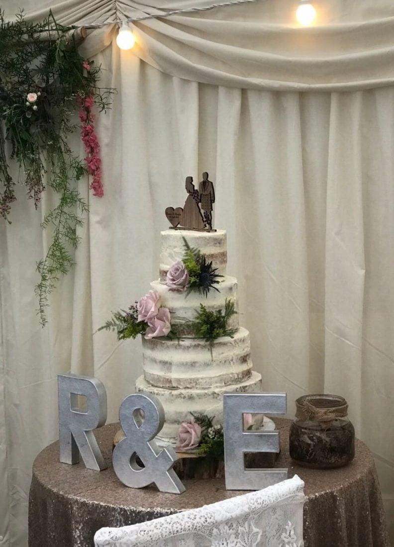 Semi-naked wedding cake at The Old Vicarage
