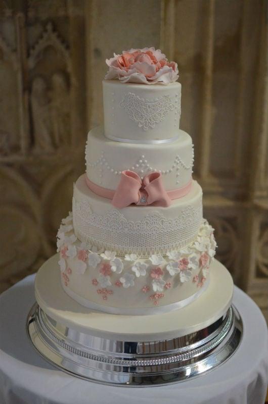 Blush pink & ivory wedding cake at Highcliffe Castle