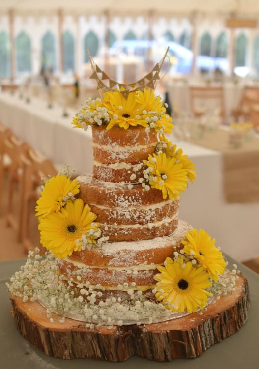Naked cake with gerberas & gypsophilia at Gaddens Manor Ringwood.