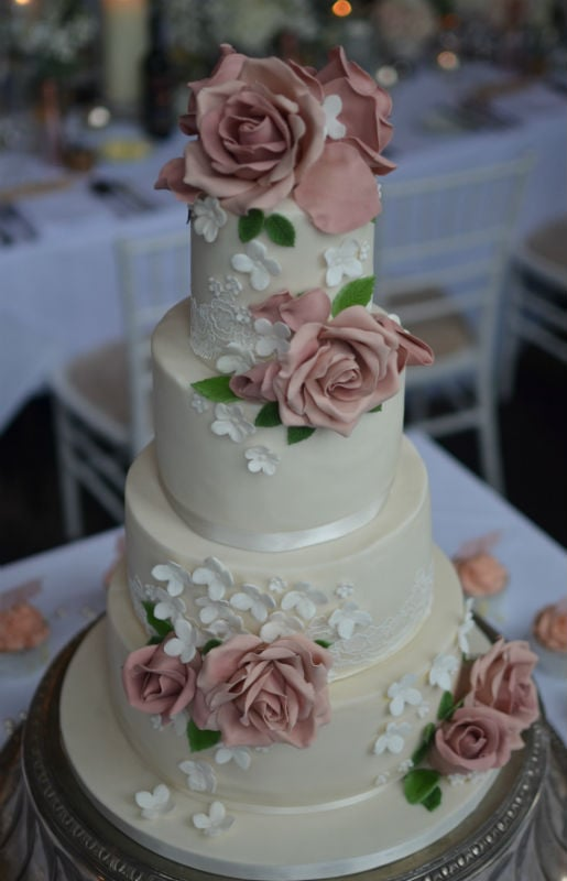 Close up of Dusky pink roses and Lace at Rhinefield House