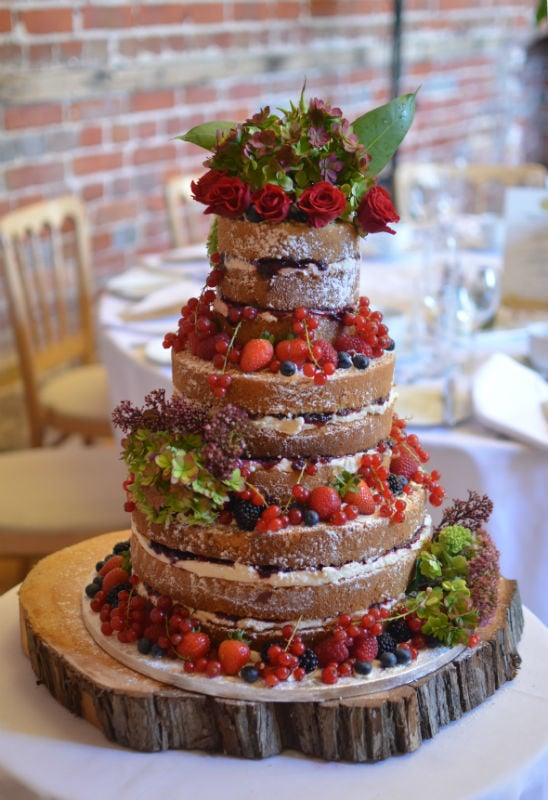 Vanilla & blackcurrant naked wedding cakes at Highcliffe Castle