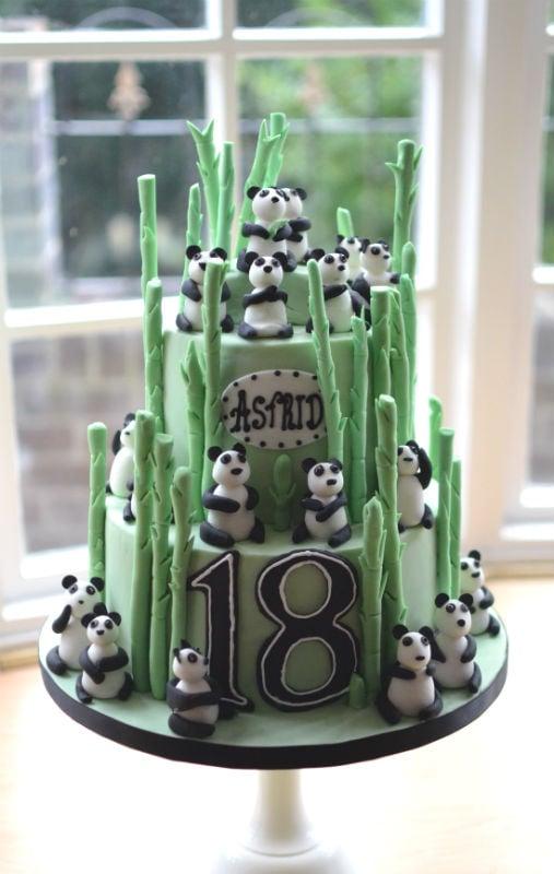 Panda birthday cake with 18 handmade sugar pandas