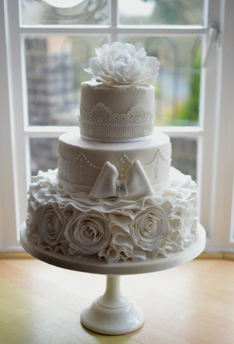 Three Tier With Rose Ruffles Delivered To The Kings Hotel Christchurch