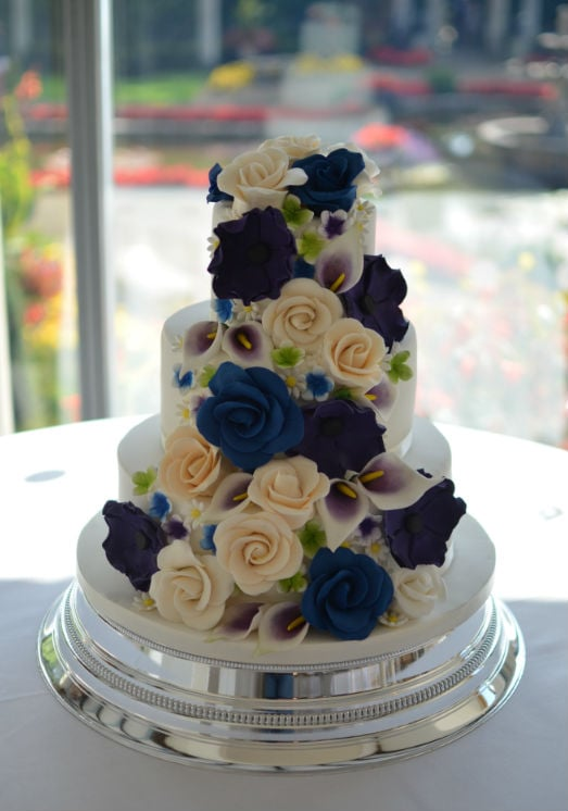 Royal blue & purple cascading sugar flowers at The Italian Villa
