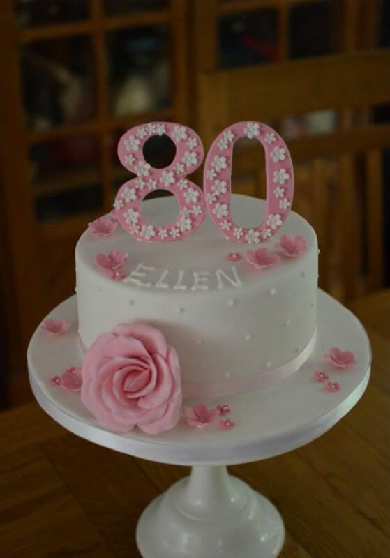 Pink rose 80th cake