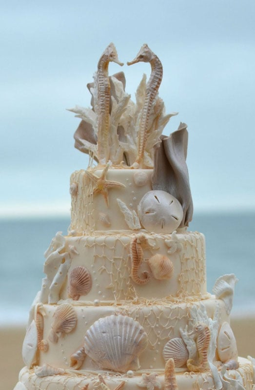 Close up of beach wedding cake