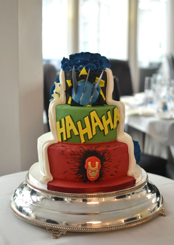 Superheroes His & Hers wedding cake at The Lord Bute