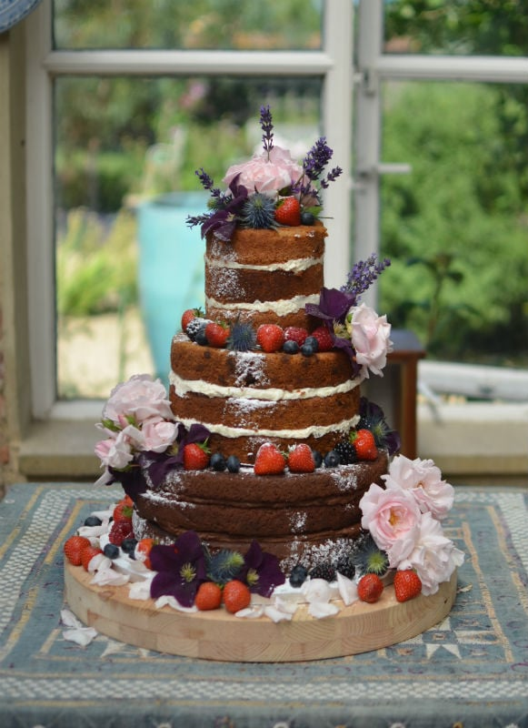 Naked wedding cake in Dorset.
