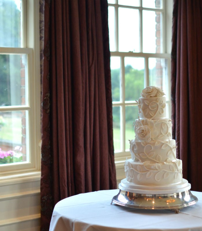 White wedding cake at The Chewton Glen Hotel.