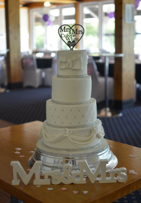 White swags & crystals wedding cake at Chappelgate