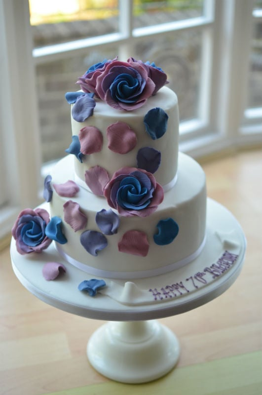two tier roses birthday cake.