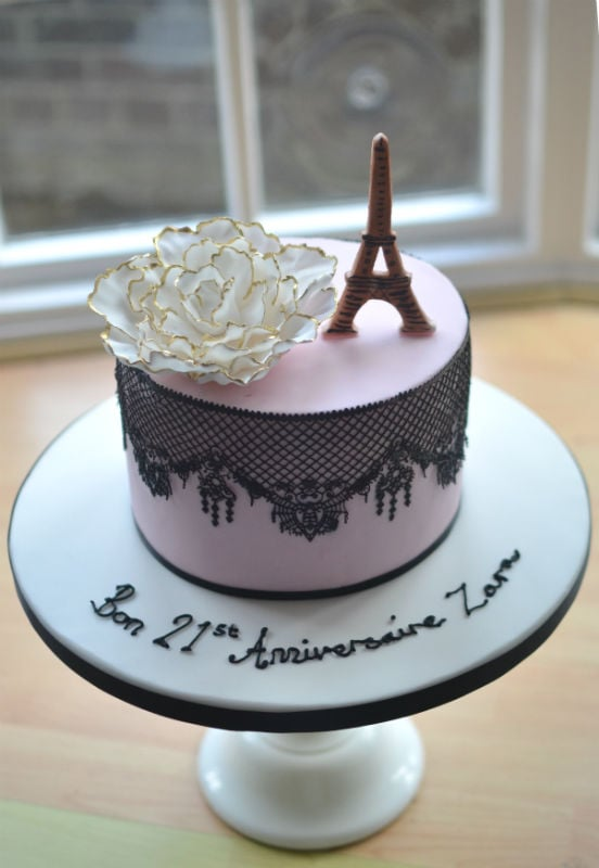 French lace birthday cake.