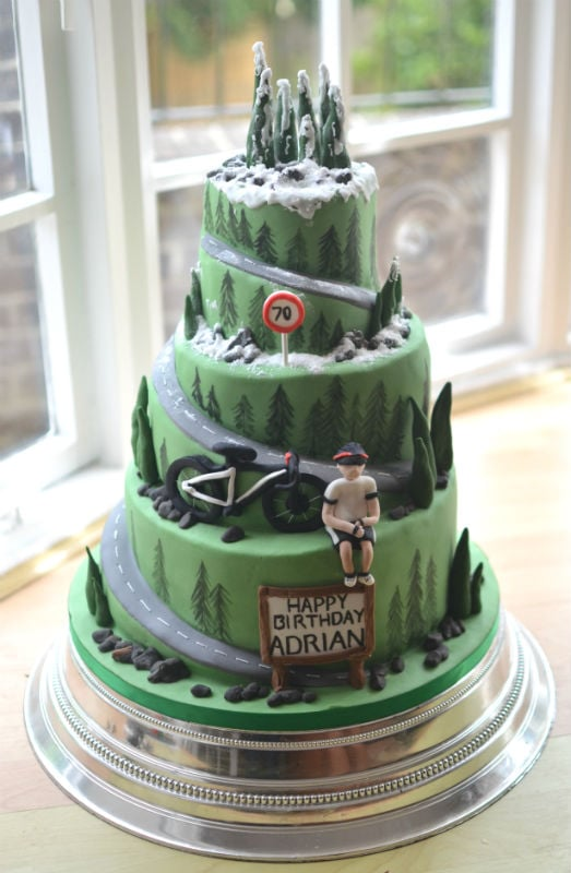 Mountain road cyclists birthday cake. Delivered to The Village