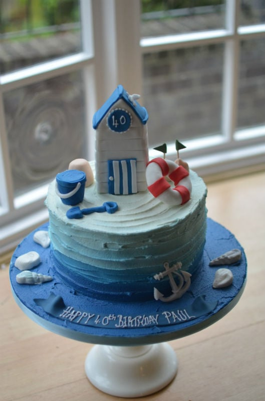 Ombre beach hut birthday cake
