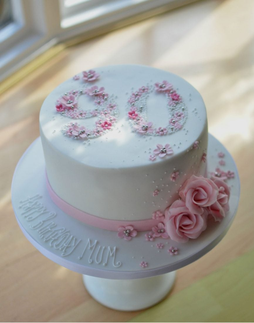 90th Roses Birthday Cake