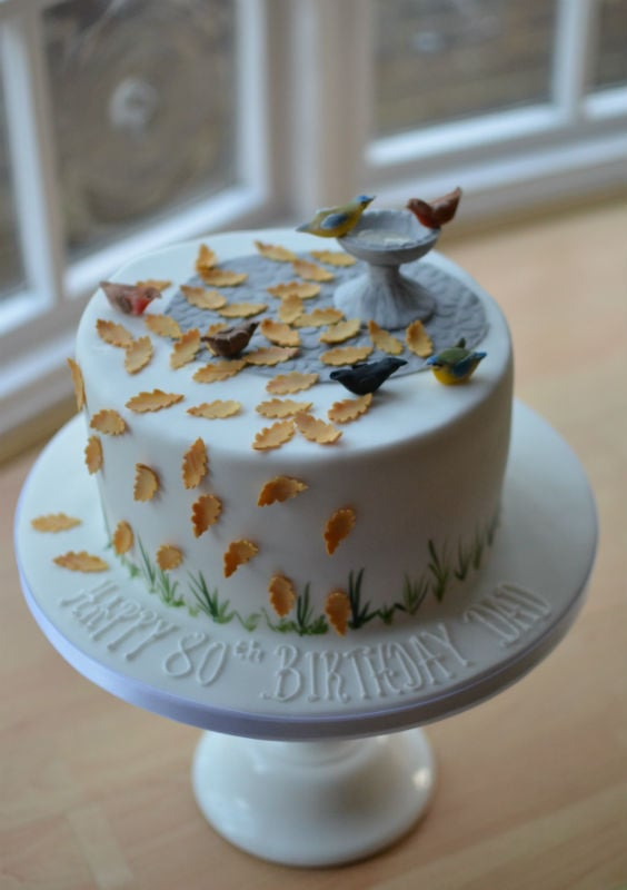 Bird bath autumn birthday cake