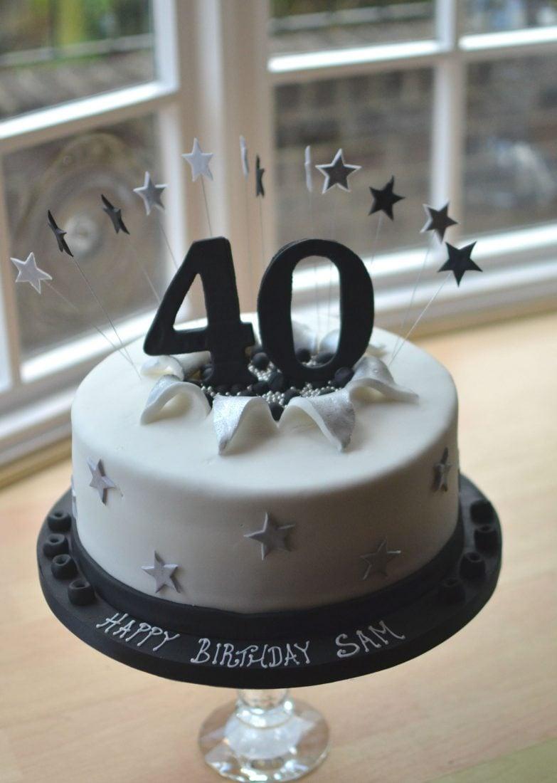 Exploding 40th large birthday cake