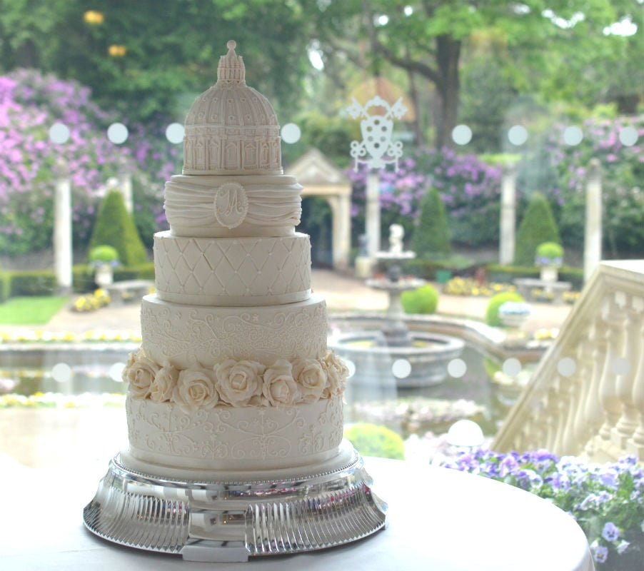 Large 5 tier elegant ivory wedding cake At The Italian Villa