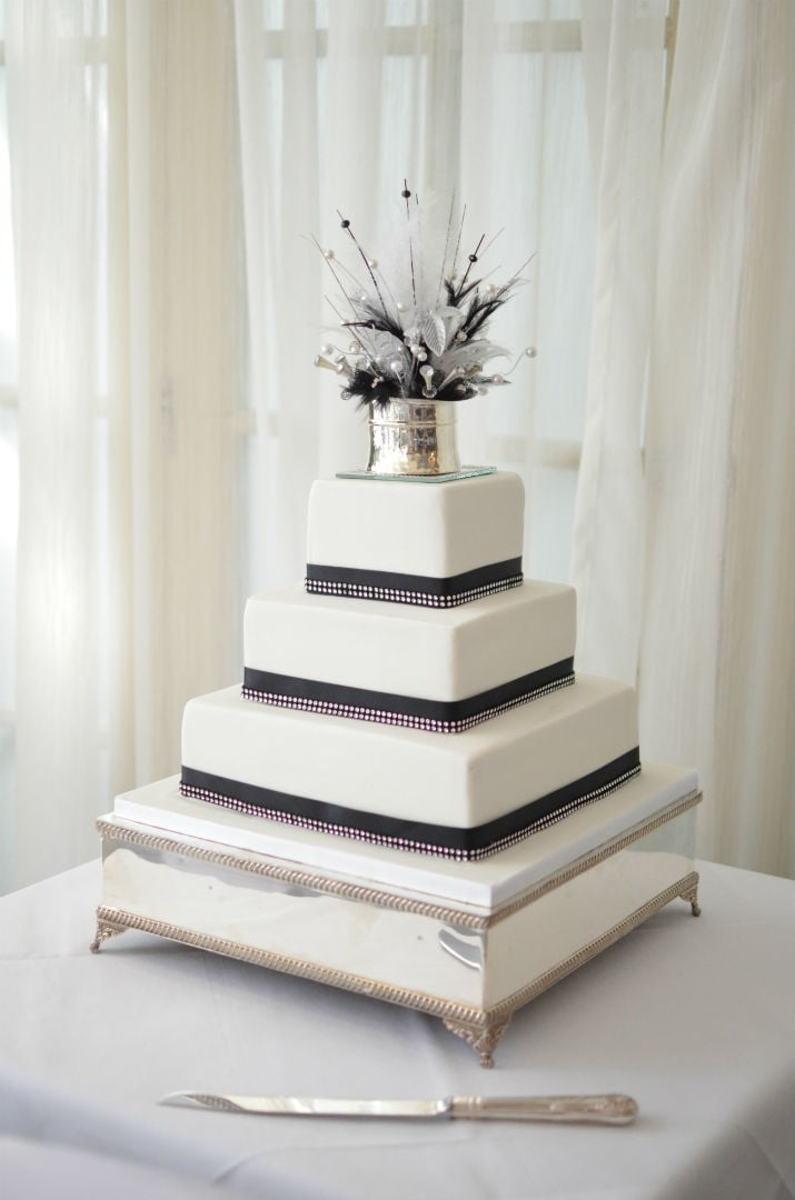 Black White Wedding Cake With Crystals At The Christchurch Harbour Hotel