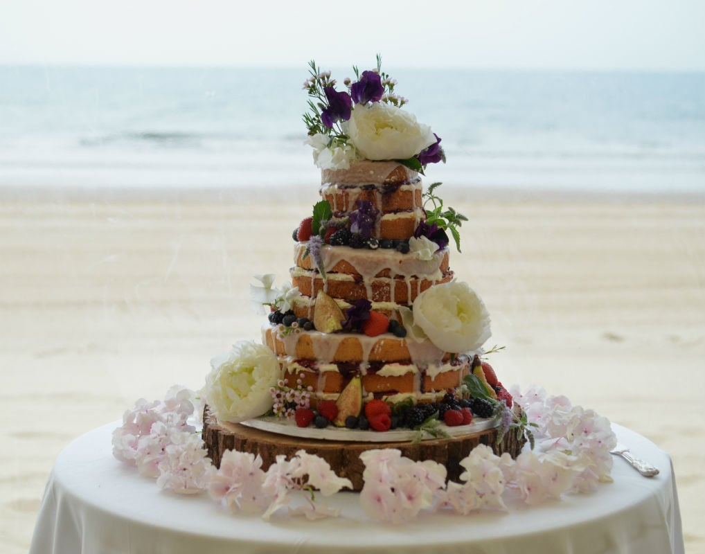 Naked with blackcurrant jam at Bournemouth Beach Weddings