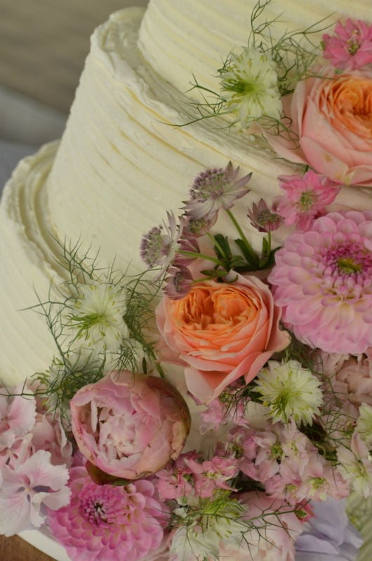 Close up of buttercream wedding cake Nr Winchester.