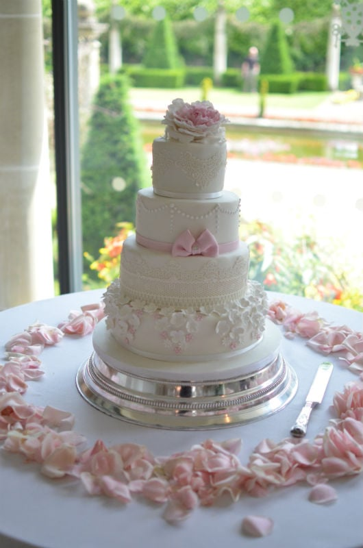 Pink & Ivory lace and flowers. At The Italian Villa