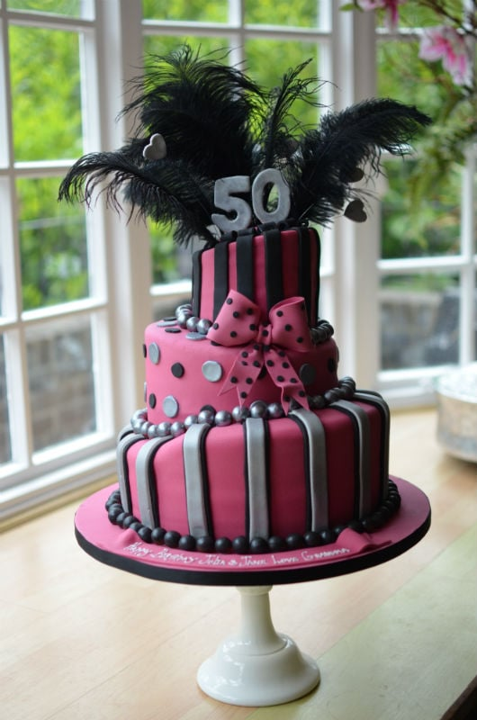 3 Tier pink & black wonky birthday cake.