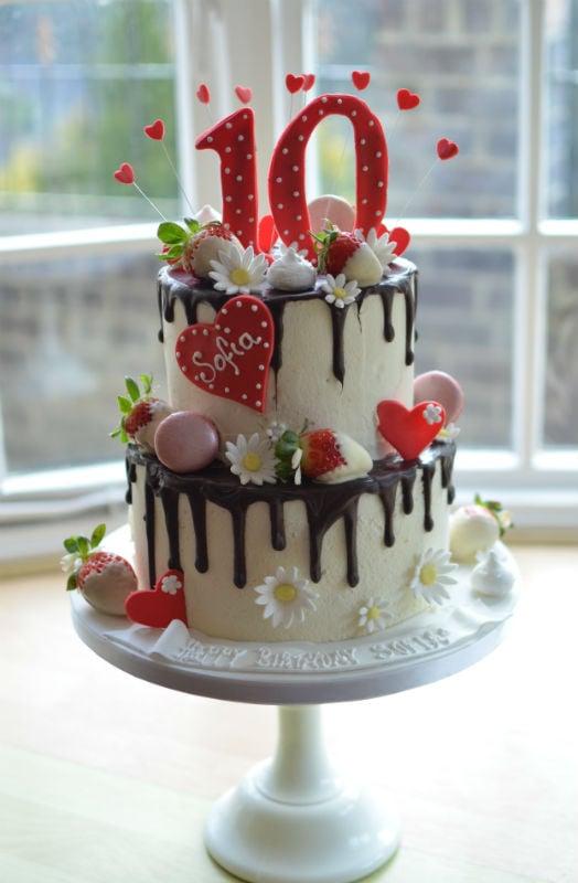 Two tier Belgian drip cake