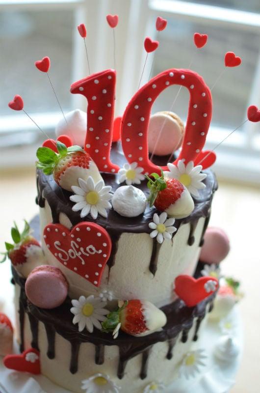 Close up of Belgian chocolate drip cake