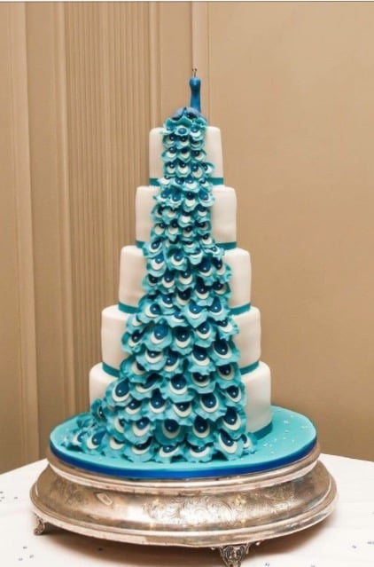 5 Tier Peacock wedding cake. The Carlton Hotel