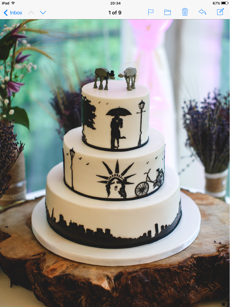 Silhouette wedding cake at Weddings in the woods.