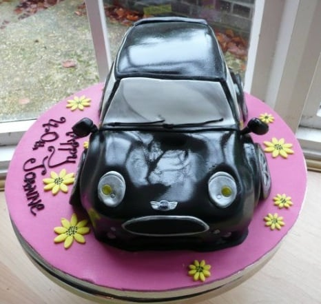 Exhausted mini car cake