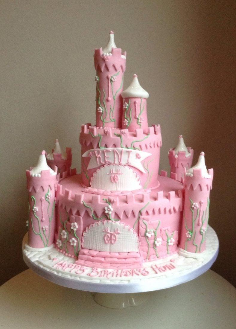 Large pink castle cake