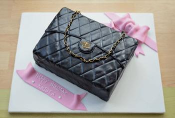 Black quilted handbag cake