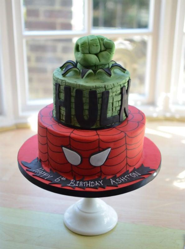 2 Tier Hulk and Spiderman cake