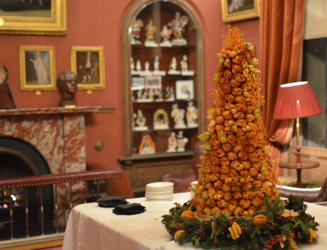 Christmas croquembouche with toffee snowflakes at The Garrick Club Covent Garden.