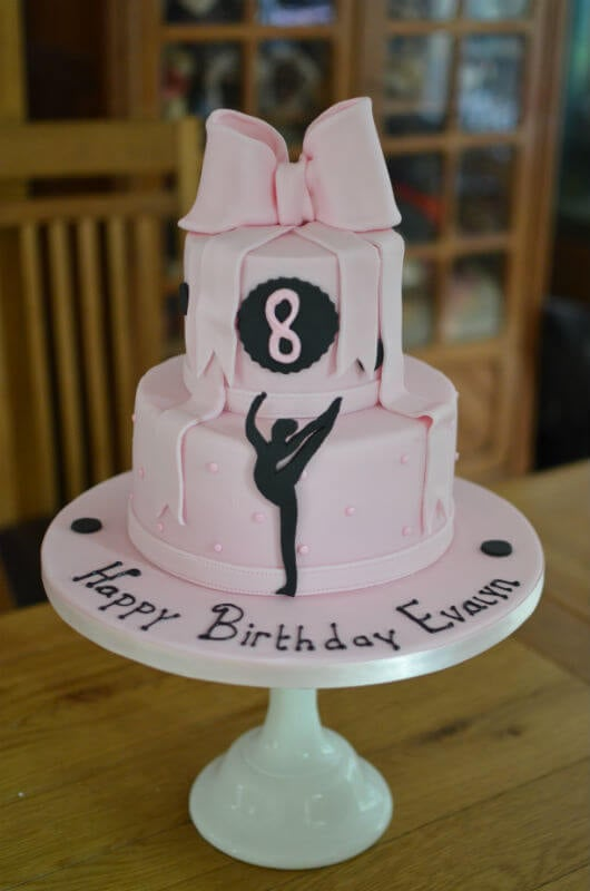 Pink bow & dancer birthday cake.