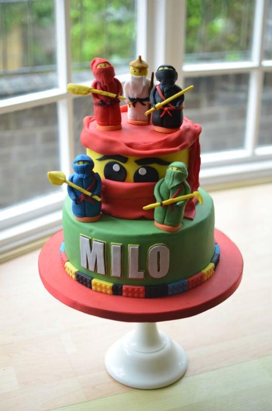 LEGO Ninja birthday cake with handmade sugar Ninjas