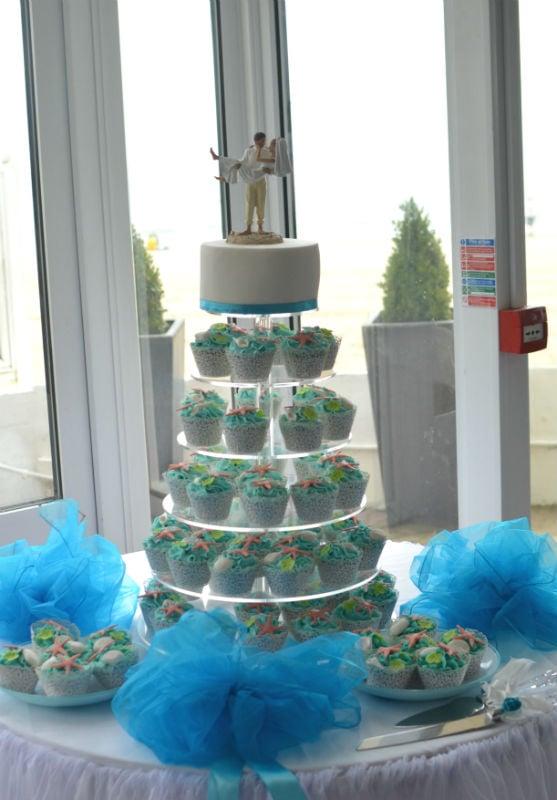 Shell cupcakes beach wedding at FJB Sandbanks Hotel.