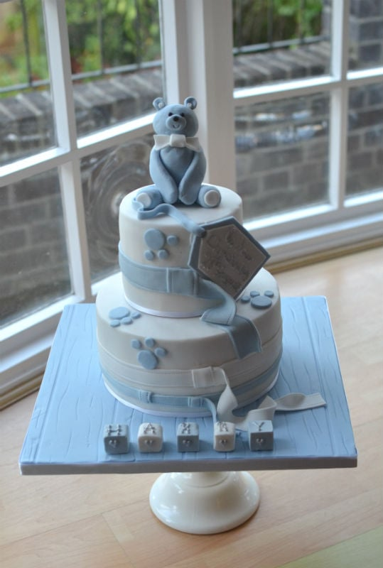 Two tier teddy Christening cake. With straps