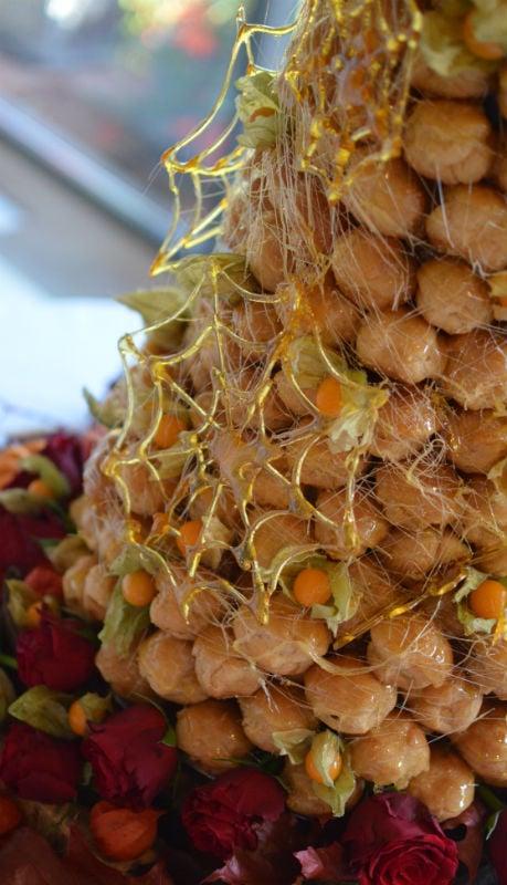 Toffee spiderwebs :) autumnal croquembouche
