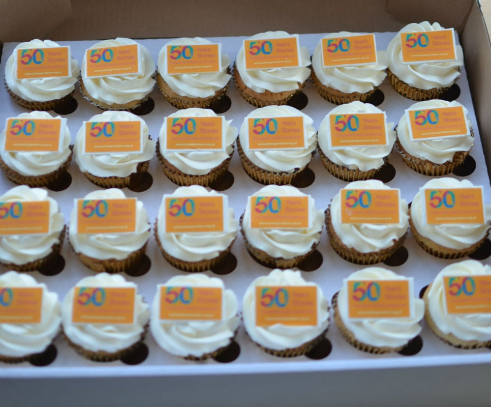 Golden anniversary corporate cupcakes