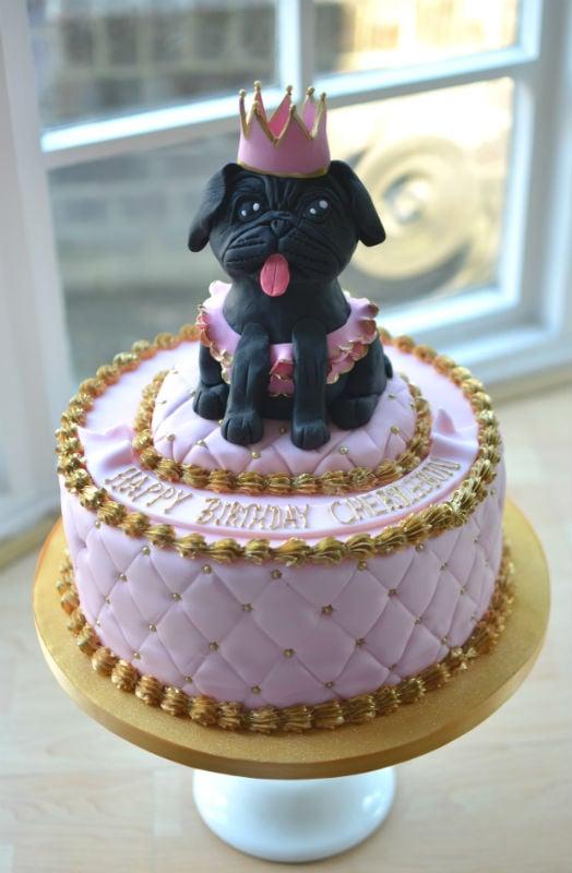 Pug pink & gold birthday cake